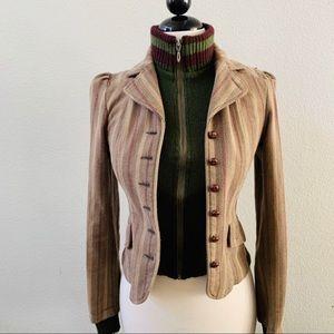 URBAN OUTFITTERS double tweed tan green zip jacket